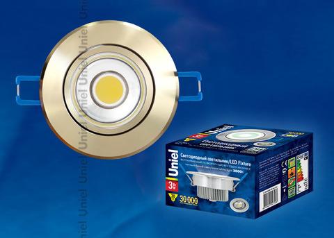 ULM-R31-3W/WW IP20 GOLD картон Светильник светодиодный встраиваемый поворотный, 110-240В. Материал корпуса алюминий, цвет золотой. Теплый белый свет.