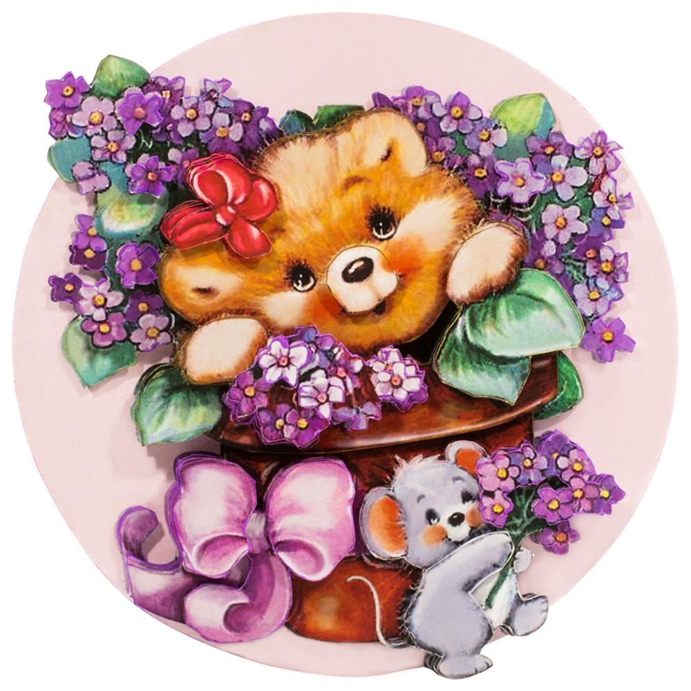 Папертоль Медвежонок с цветами — готовая работа, вид спереди.