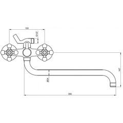 Смеситель KAISER Carlson Lux 11056 K для ванны схема