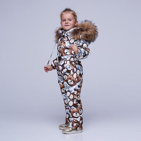 Детский зимний комбинезон с принтом «Мишки» и опушкой из натурального меха