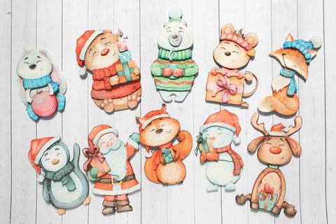 Набор Папертоль Новогодние игрушки зверята, - готовые работы