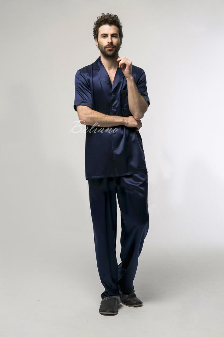 Мужская шелковая пижама синего цвета (рубашка с коротким рукавом+брюки). Натуральный шелк