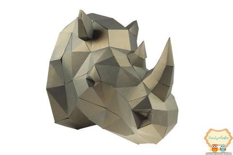 Конструктор. Голова носорога. Papercraft. 3D фігура з паперу та картону.