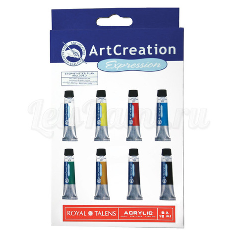 Набор акриловых красок ArtCreation - 8 цветов в тубах по 12мл