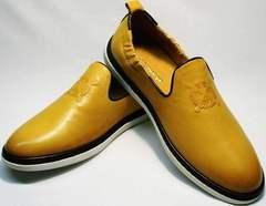 Желтые туфли слиперы мужские King West 053-1022 Yellow-White.