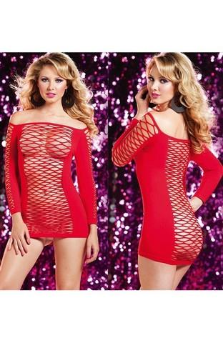 Откровенное комбинированное платье с рукавами (красное)