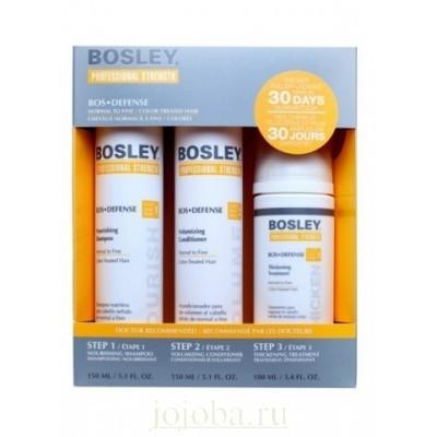 Bosley PRO Defense Желтая линия: Система для нормальных/тонких/окрашенных волос (Pack for Fine  Color-Treated), 150мл/150мл/100мл