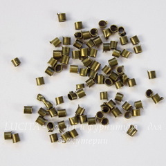 Кримпы - зажимные бусины - трубочки 1,5-1,8 мм (цвет - античная бронза), 2 гр (примерно 300 штук)