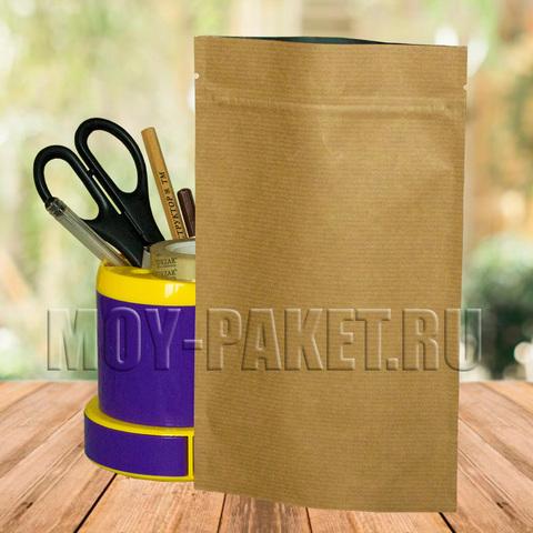Крафт пакет дой-пак с замком зип-лок  металлизированный 135x225 мм