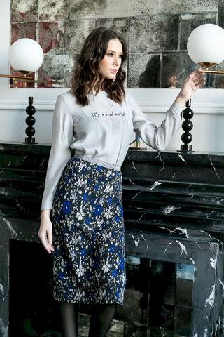 Фото прямая юбка с разрезами по бокам - Юбка Б149-067 (1)