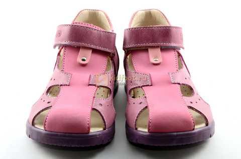 Босоножки Тотто из натуральной кожи с закрытым носом для девочек, цвет сиреневый розовый. Изображение 5 из 12.