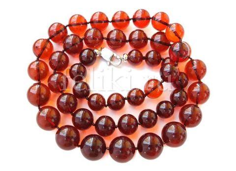 бусы из янтарных шаров цвет вишня