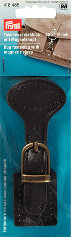 Магнитная застежка  цвета состаренной латуни на  коричневой коже Prym. (Арт. 416485)