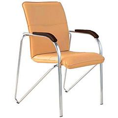 Конференц-кресло Samba silver бежевый (искусственная кожа/орех/металл серебристый)