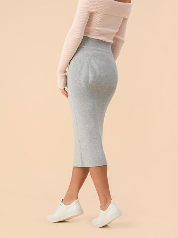Женская юбка цвета серый меланж из вискозы - фото 4