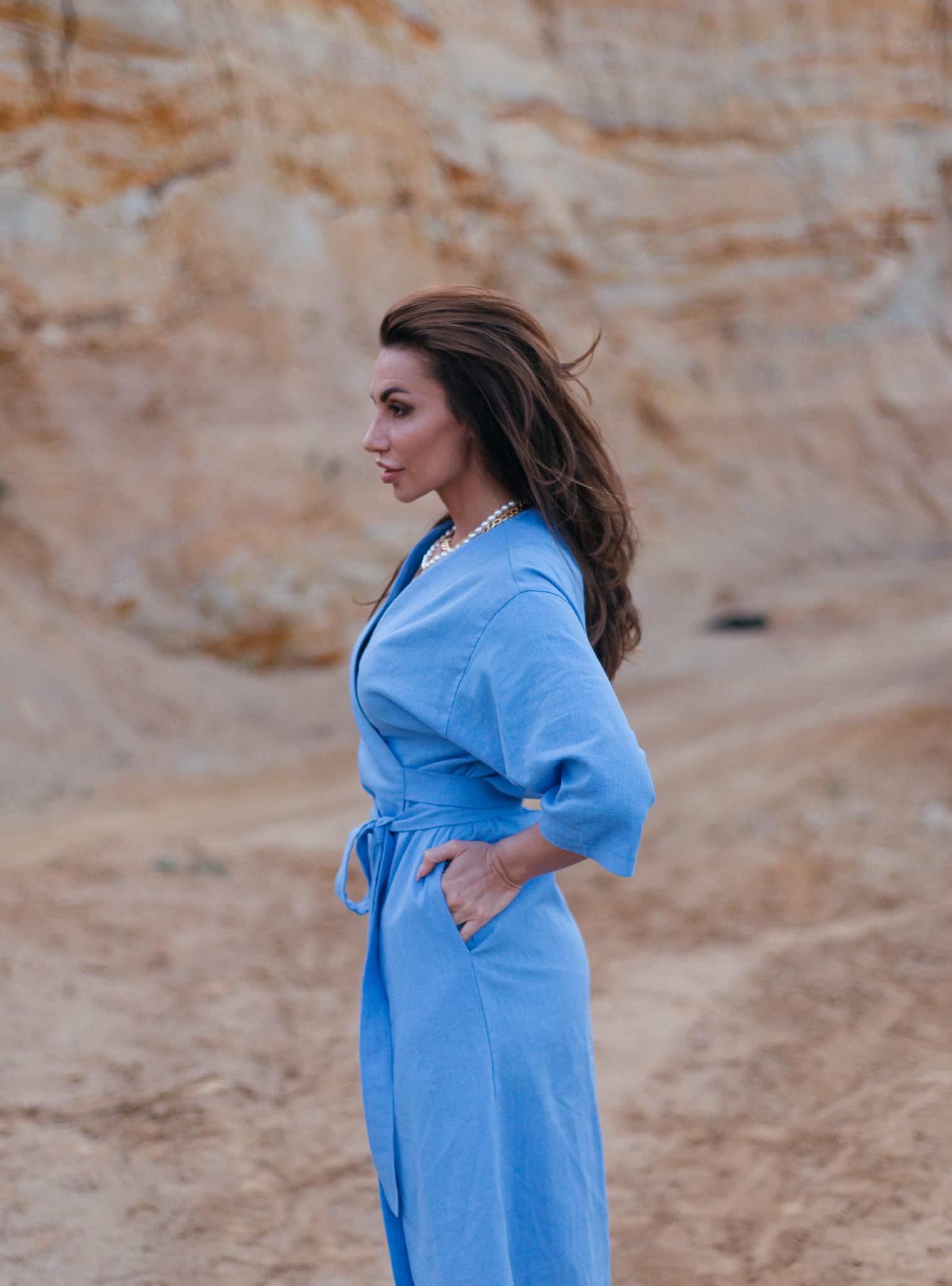 Платье на запах изо льна  кроя кимоно