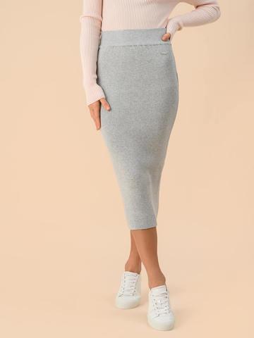 Женская юбка цвета серый меланж из вискозы - фото 2