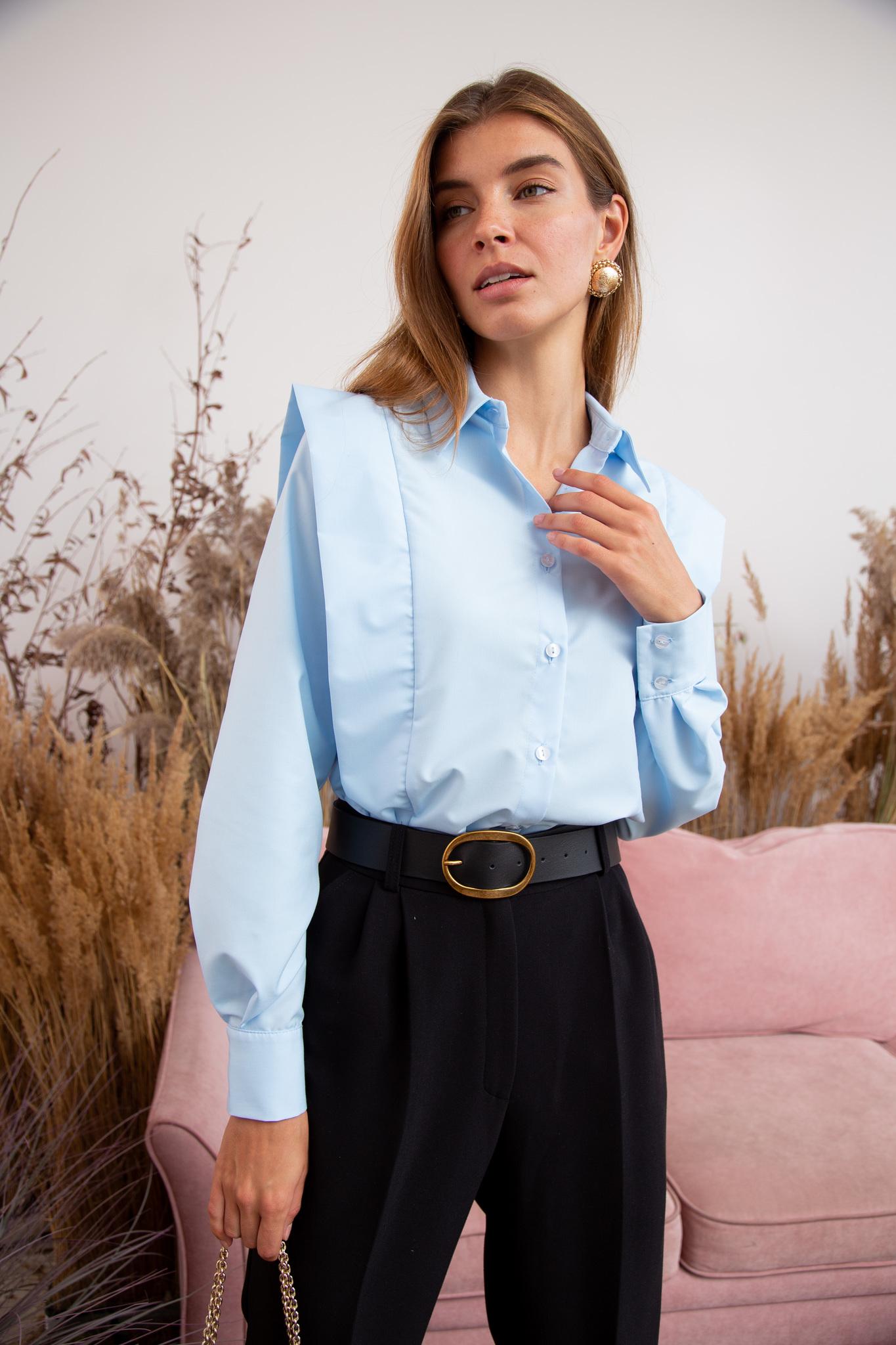 Рубашка из хлопка с декоративной вставкой (голубой)