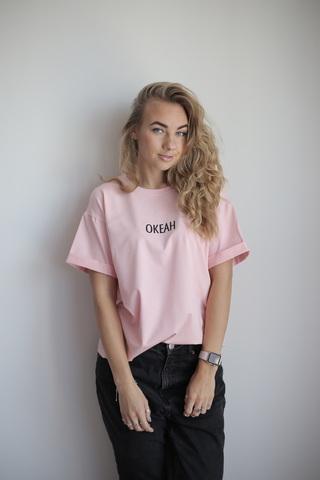 Футболка розовая с надписью ОКЕАН