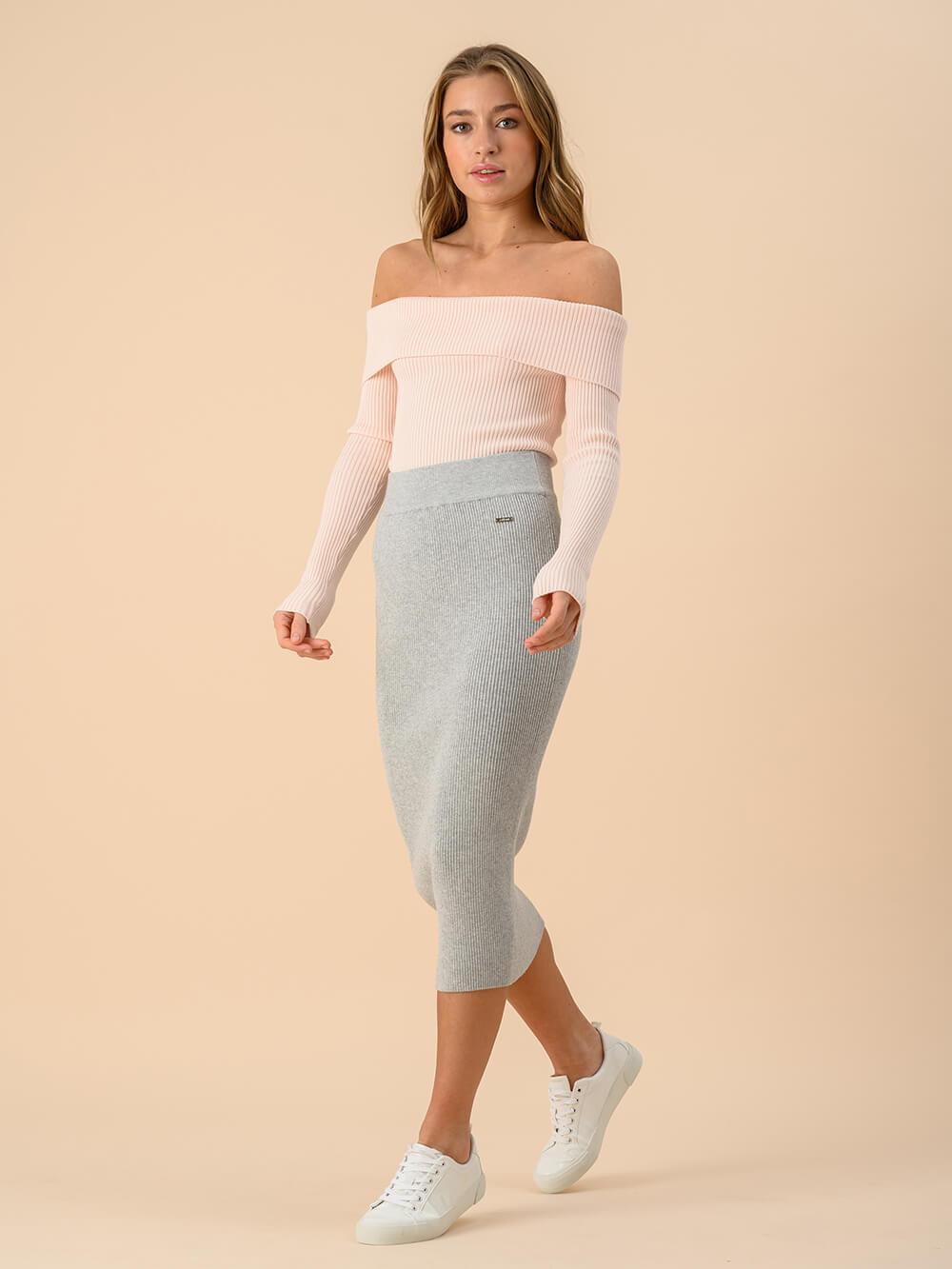 Женская юбка цвета серый меланж из вискозы - фото 1