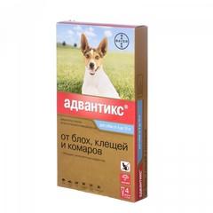 Bayer Адвантикс капли для собак 4-10кг от блох, клещей и комаров (1 пипетка)
