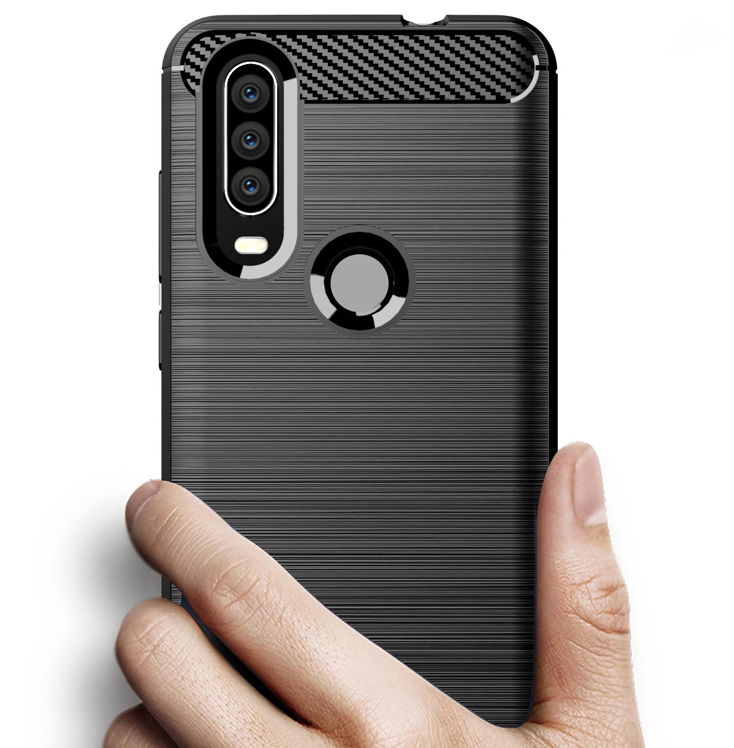 Чехол Motorola Moto One Action (P40 Power) цвет Black (черный), серия Carbon, Caseport