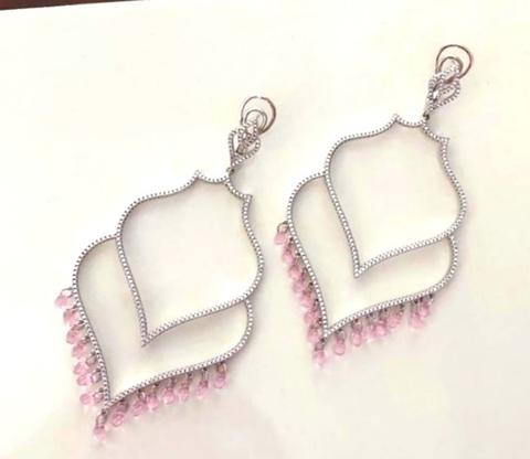 Серьги Hoop из серебра двухрядные с розовыми цирконами