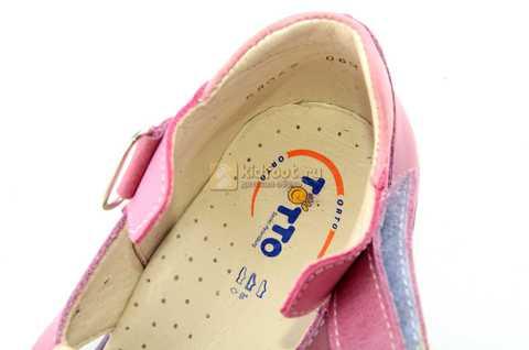 Босоножки Тотто из натуральной кожи с закрытым носом для девочек, цвет сиреневый розовый. Изображение 11 из 12.