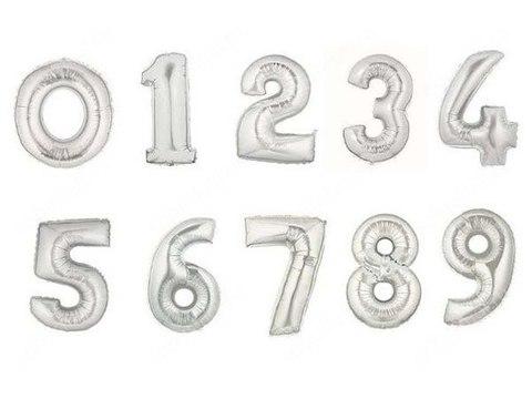 Цифра фольга серебро высота 86 см
