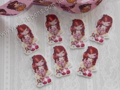 Пластиковая серединка Винтажная кукла с ромашками
