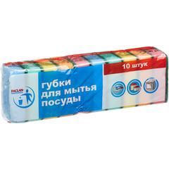 Губки для мытья посуды Paclan Practi поролоновые 50х80 мм 10 штук в упаковке