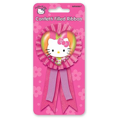 Значок Hello Kitty с розовой лентой