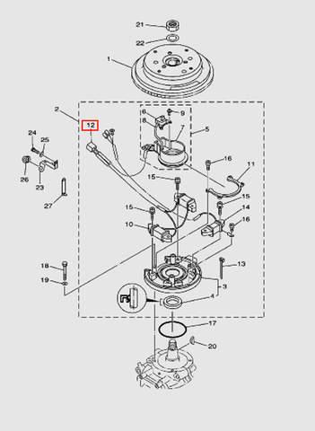 Коннектор к коммутатору для лодочного мотора T40 Sea-PRO (8-12)