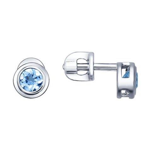 92021081-Пусеты из серебра с завальцованными топазами