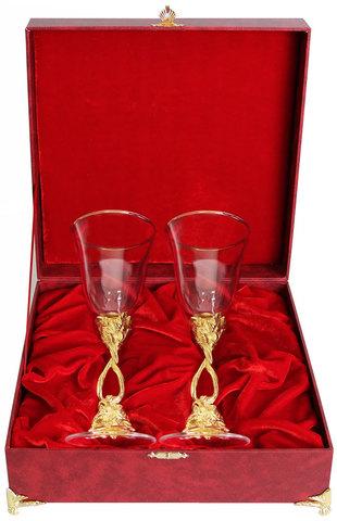 Набор из двух фужеров Виноградная лоза(позолота, латунь, бокал Ретро) в шкатулке(бумвинил)