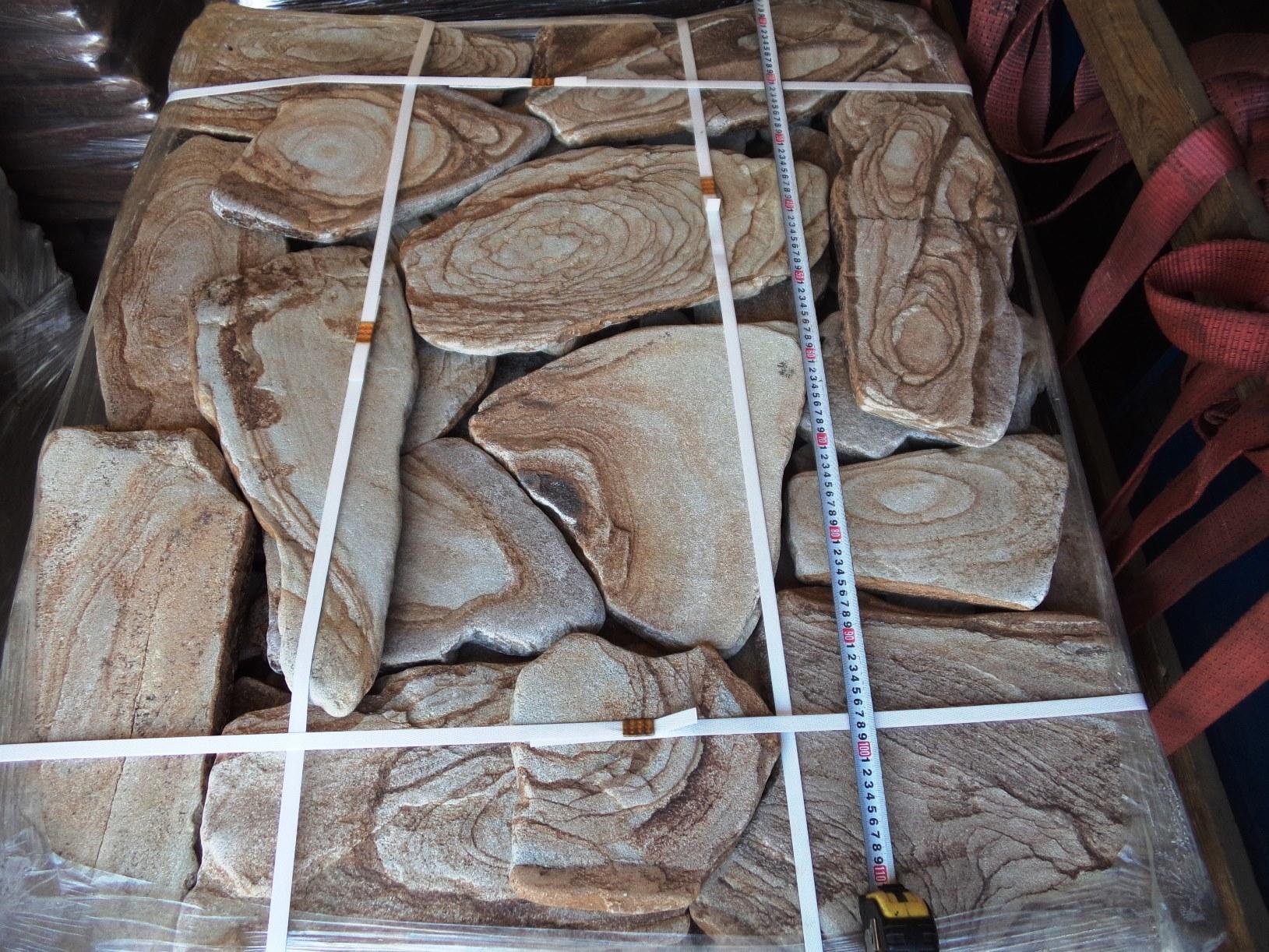 Камень для мощения Песчаник галтованный Ручейник Орех поддон