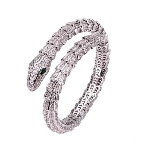 Браслет Змея-SERPENTI  из серебра с цирконами (lux)