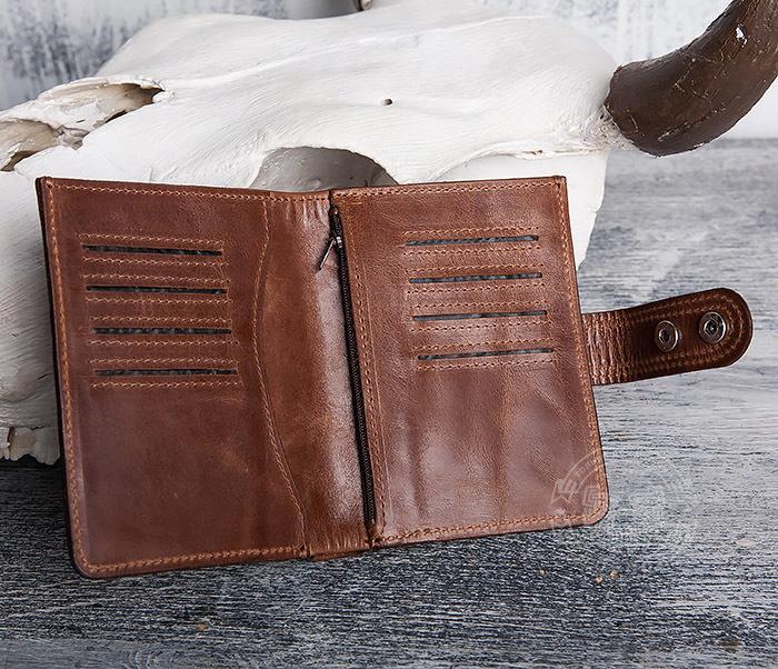 WL283-2 Крутое мужское портмоне ручной работы из кожи фото 05