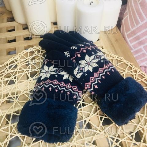 Перчатки со снежинками шерстяные (цвет: синий)