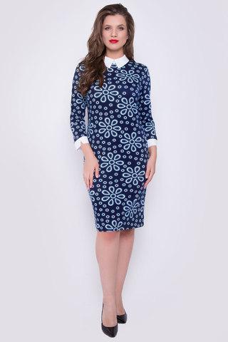 Элегантное платье приталенного силуэта. Рукав 3/4 с манжетом. Комфортное, удобное платье на каждый день. (Длина: 44-100см; 46-101см; 48-103см;  50-104см; 52-106см;)
