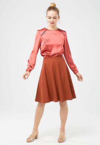 Фото классическая коричневая юбка-полусолнце на молнии с пуговицей - Юбка Б045-514 (1)