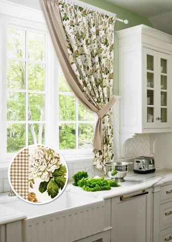 Готовая хлопковая штора для кухни Лилиана с подхватом