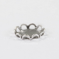 Сеттинг - основа для камеи или кабошона 9 мм (оксид серебра)