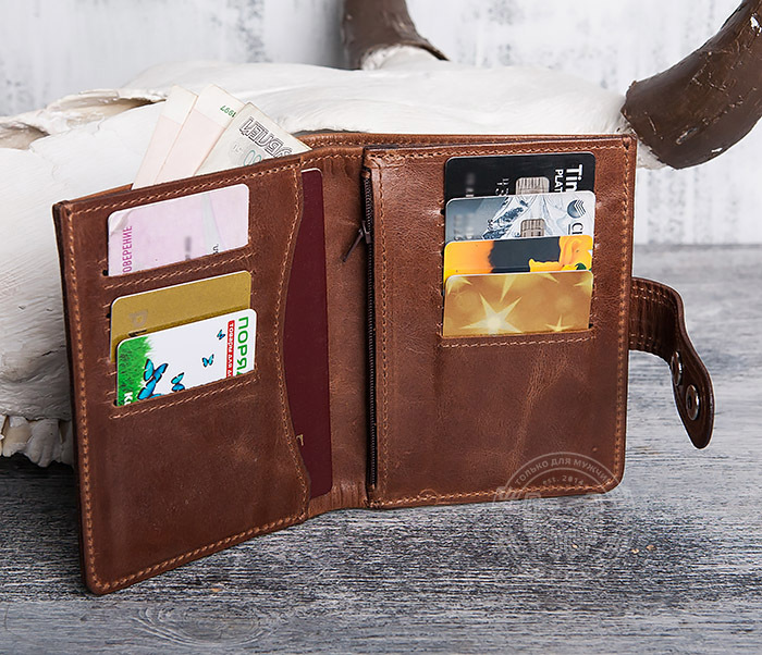 WL283-2 Крутое мужское портмоне ручной работы из кожи фото 07