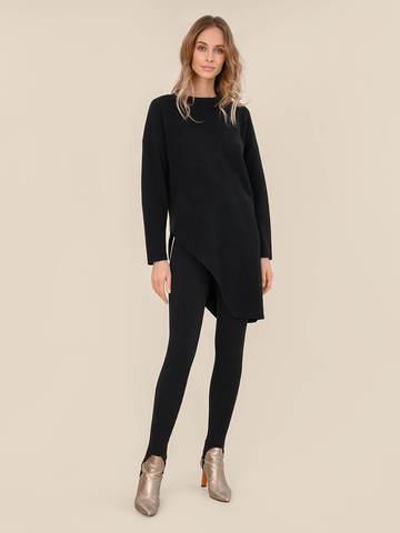 Женский брюки черного цвета из шерсти с контрастной полосой и штрипками - фото 6