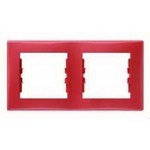 Рамка на 2 поста, горизонтальная. Цвет красный. Schneider Electric Sedna. SDN5800341