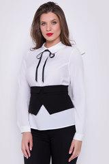 <p>Стильный и практичный образ на каждый день. Белая блузка с длинным рукавом на манжете. Отложной ворот. По спинке застежка на пуговицах. Корсет съемный. по спинке замок.</p>