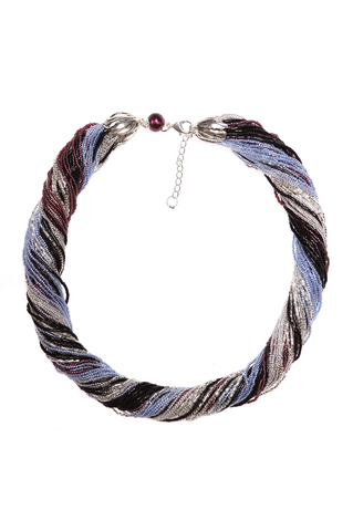 Ожерелье из венецианского бисера из 48 нитей серебристо-черное