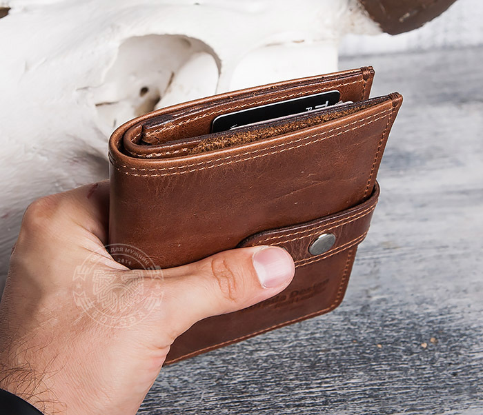 WL283-2 Крутое мужское портмоне ручной работы из кожи фото 11