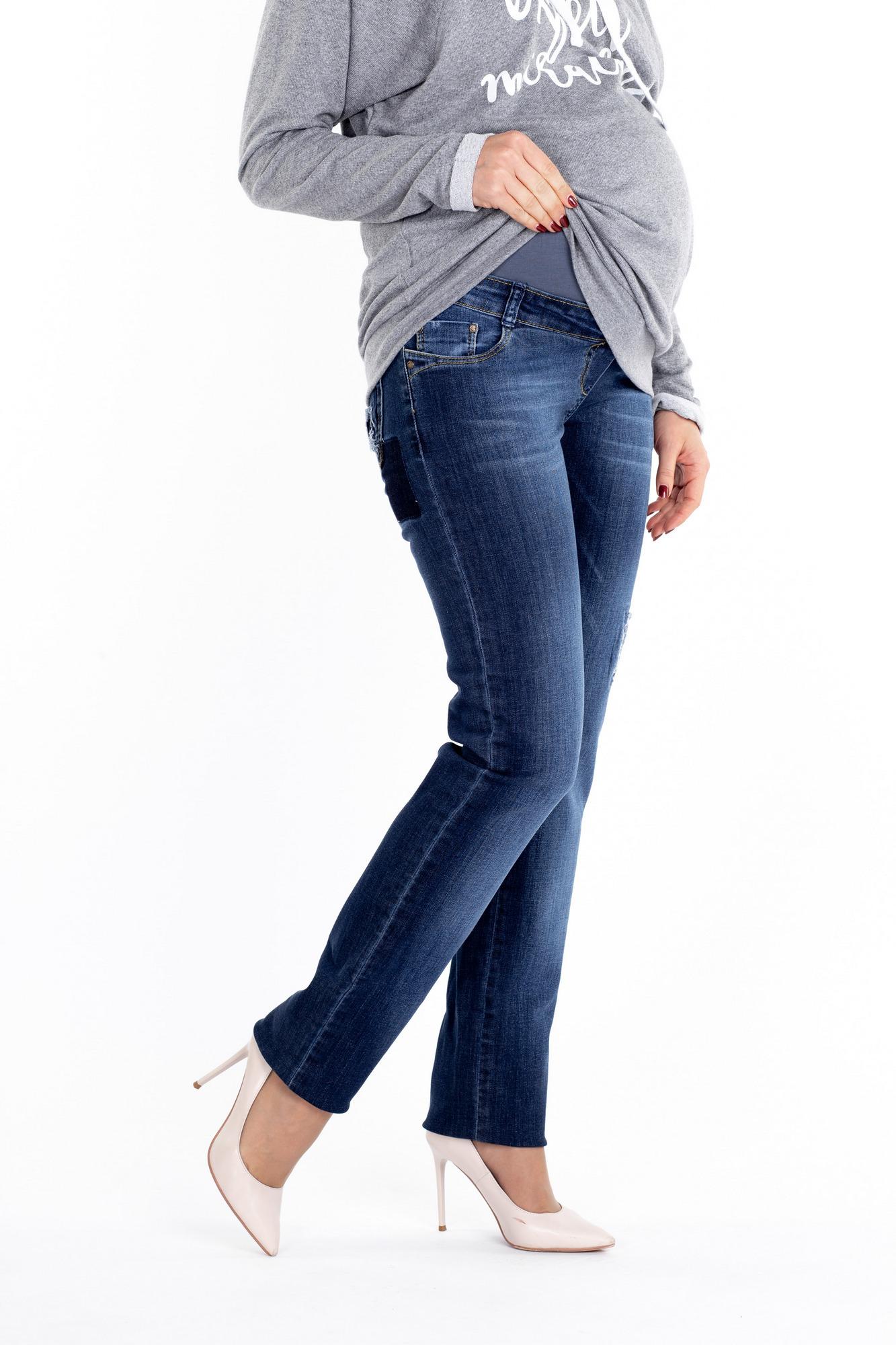 Фото джинсы для беременных MAMA`S FANTASY, посадка regular-fit, трикотажная вставка средней длины от магазина СкороМама, синий, размеры.